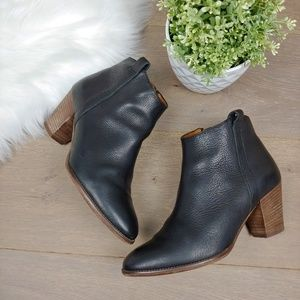 Madewell Black Leather Ankle Booties Wooden Heel
